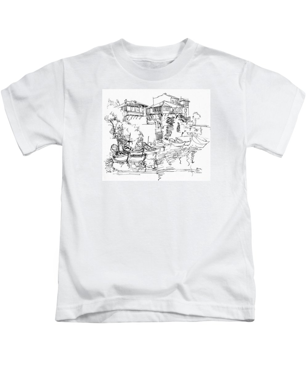 Houses Kids T-Shirt featuring the drawing Old Houses And Boats by Iliyan Bozhanov