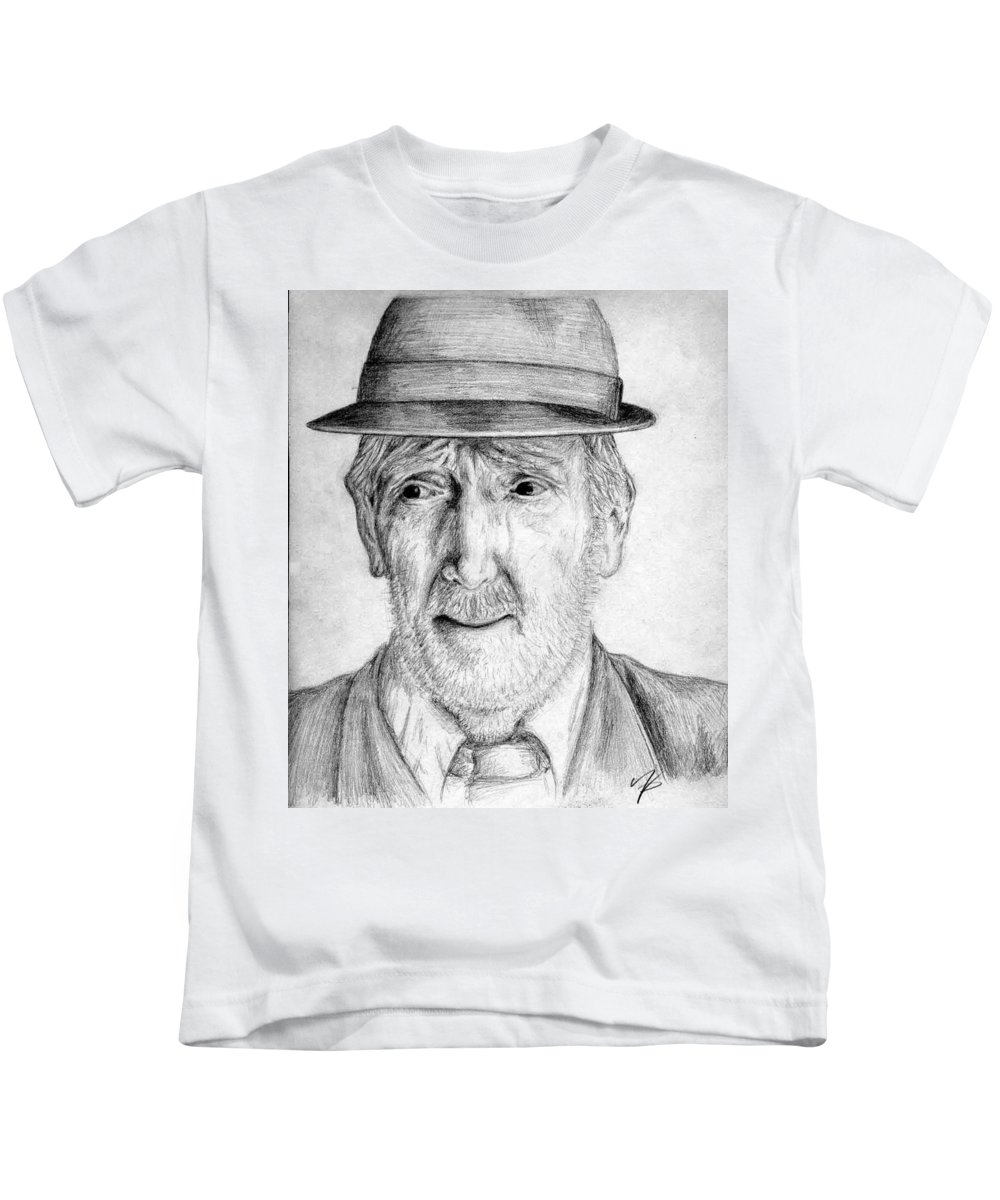 Man Kids T-Shirt featuring the drawing Old Man With Hat by Nicole Zeug