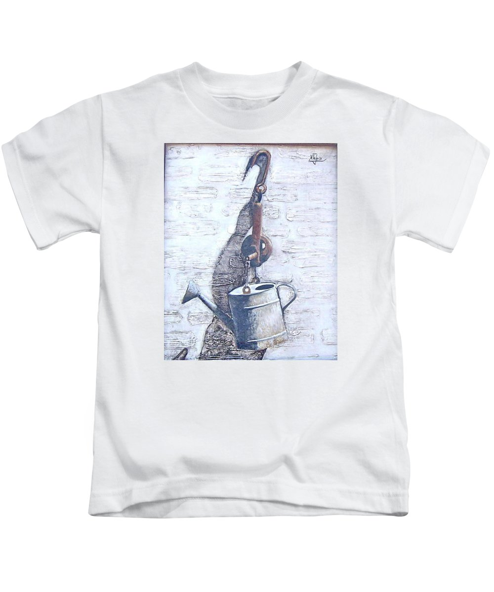 Old Metal Still Life Kids T-Shirt featuring the painting Old Metal by Natalia Tejera
