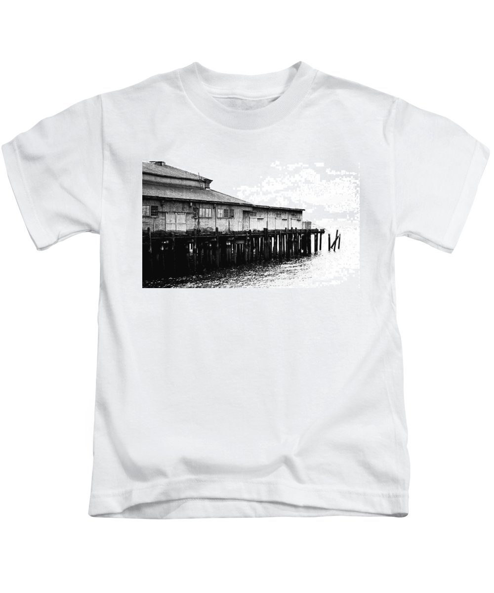 History Kids T-Shirt featuring the photograph Old Pier by Karen Ulvestad