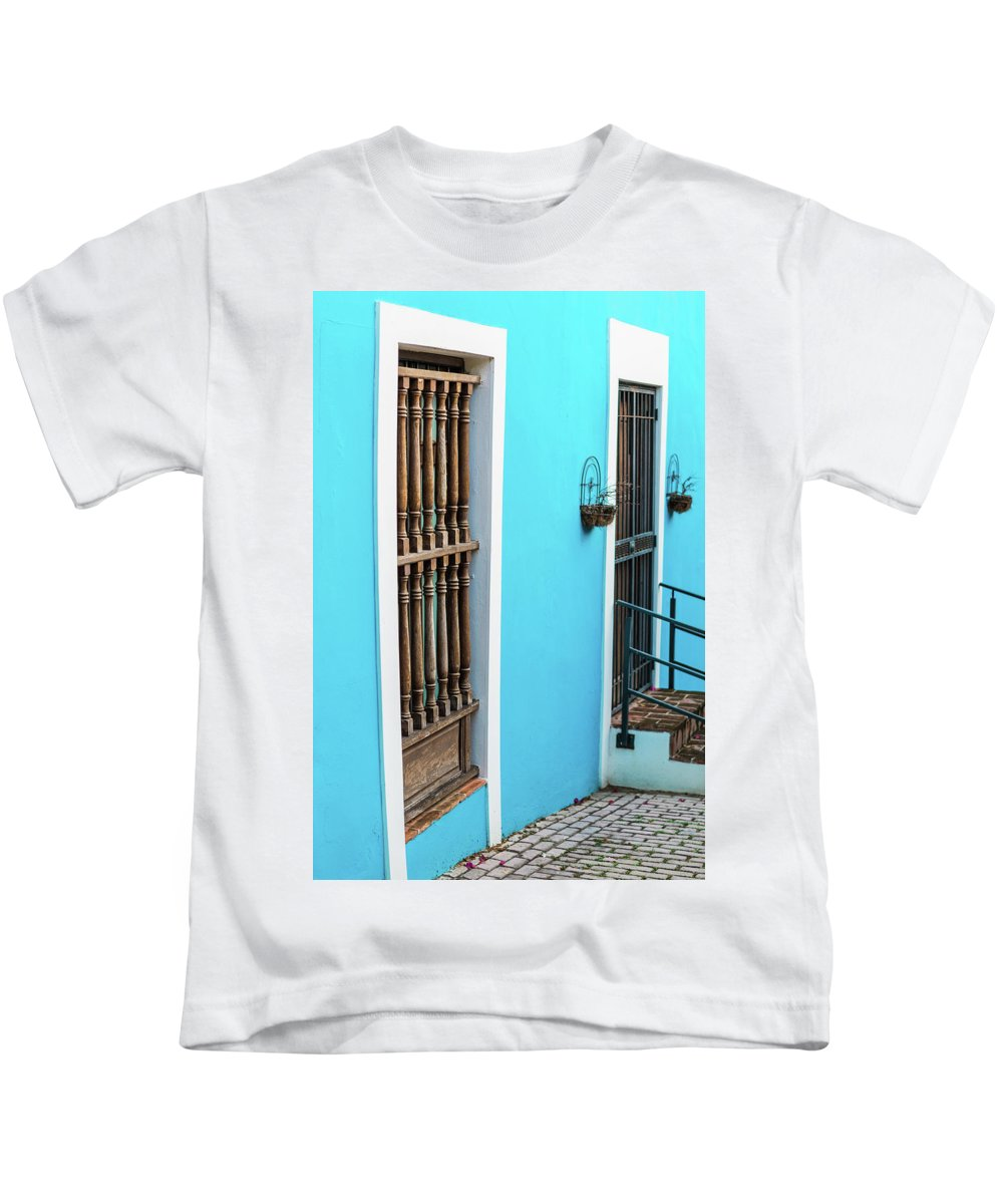 Colorful Kids T-Shirt featuring the photograph Old San Juan House In Historic Street In Puerto Rico by Jasmin Burton