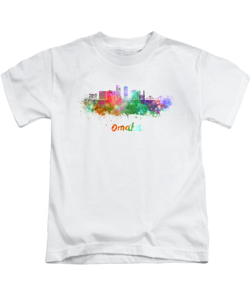 Omaha Kids T-Shirt featuring the painting Omaha V2 Skyline In Watercolor by Pablo Romero