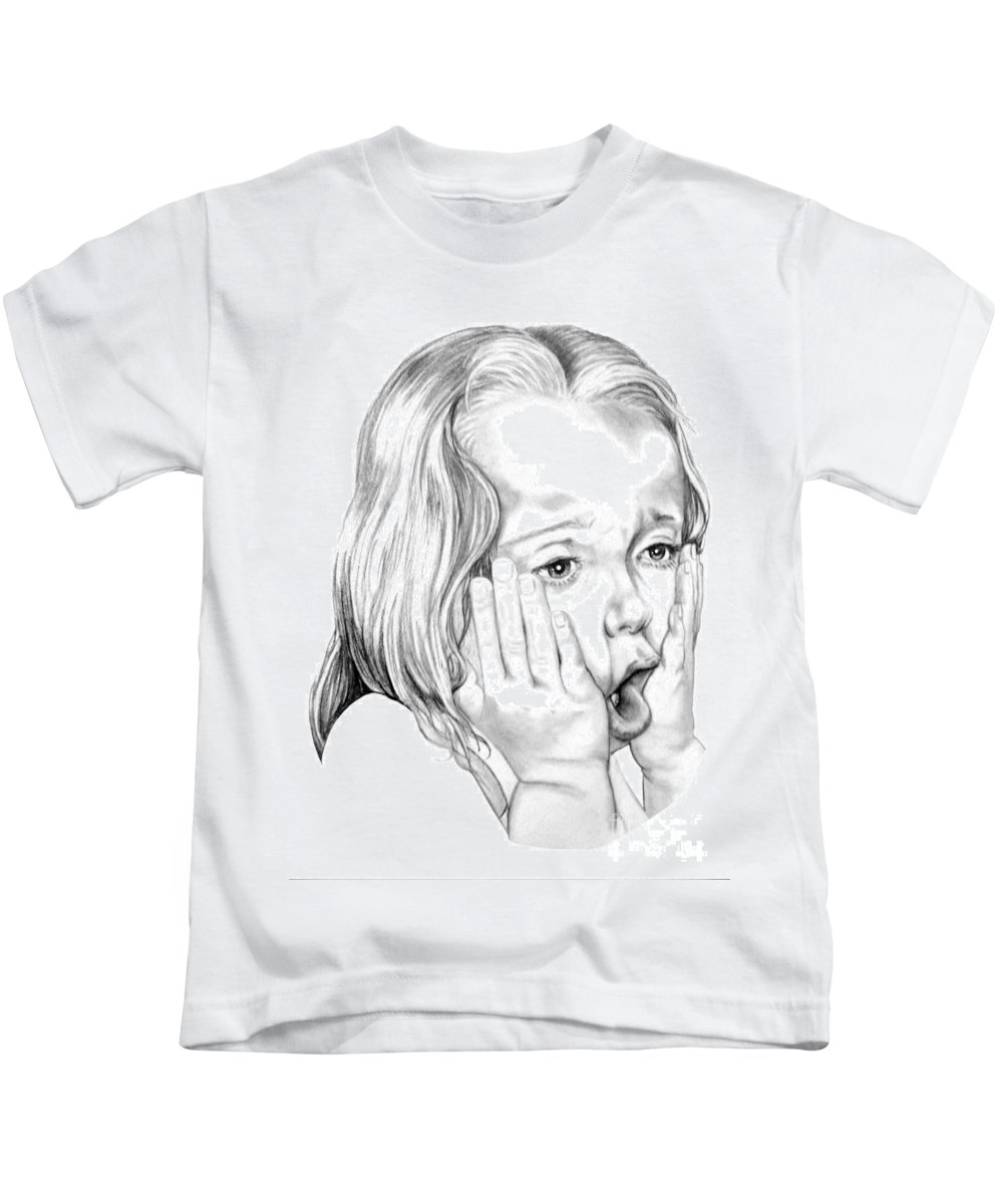 Portrait Kids T-Shirt featuring the drawing OMG by Murphy Elliott