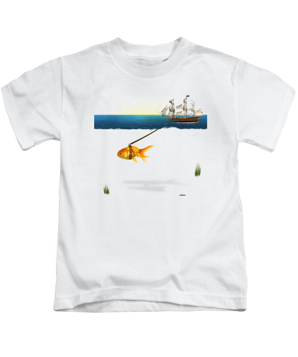 Gold Fish Kids T-Shirt featuring the painting On The Way by Mark Ashkenazi