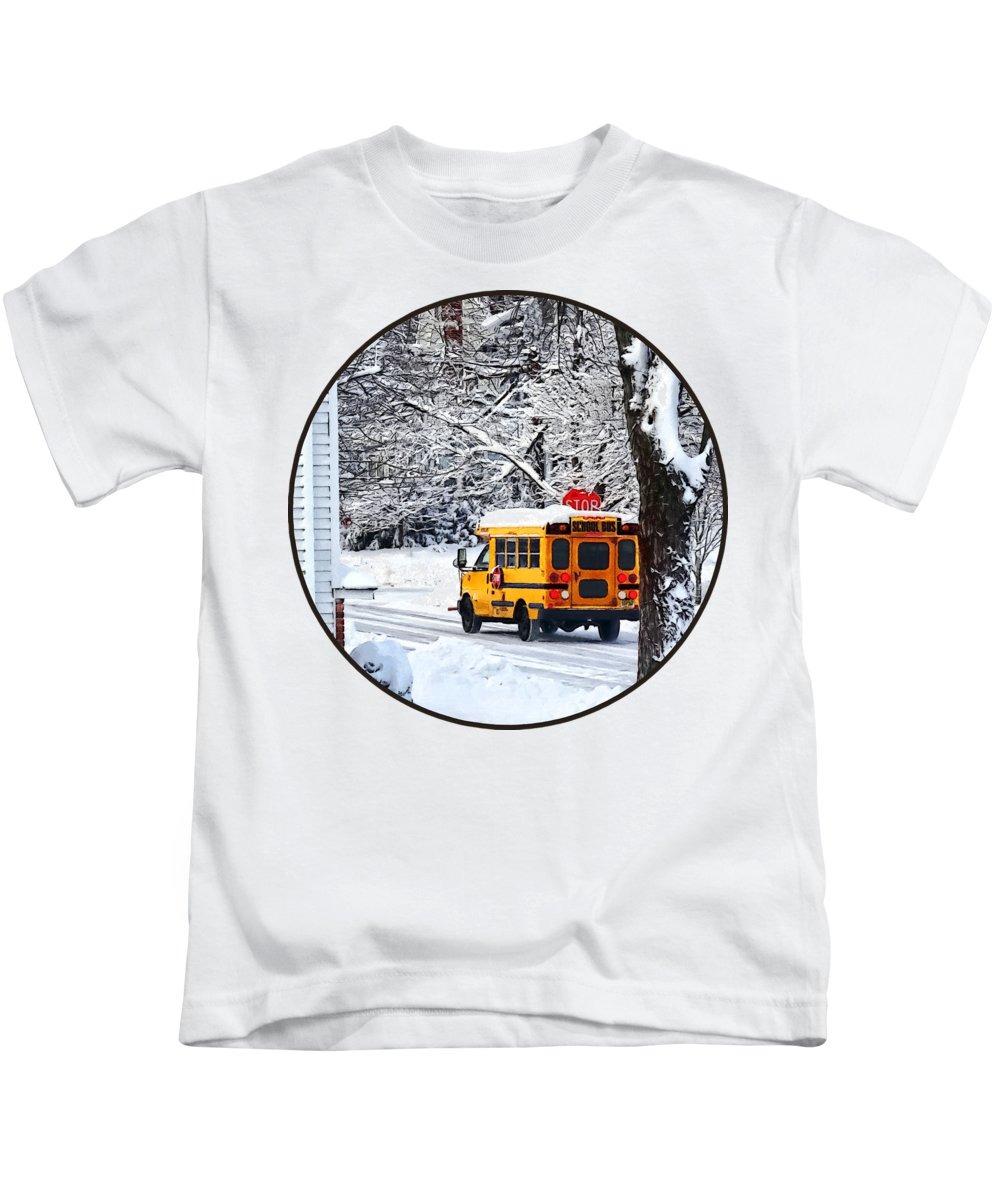 Bus Kids T-Shirt featuring the photograph On The Way To School In Winter by Susan Savad