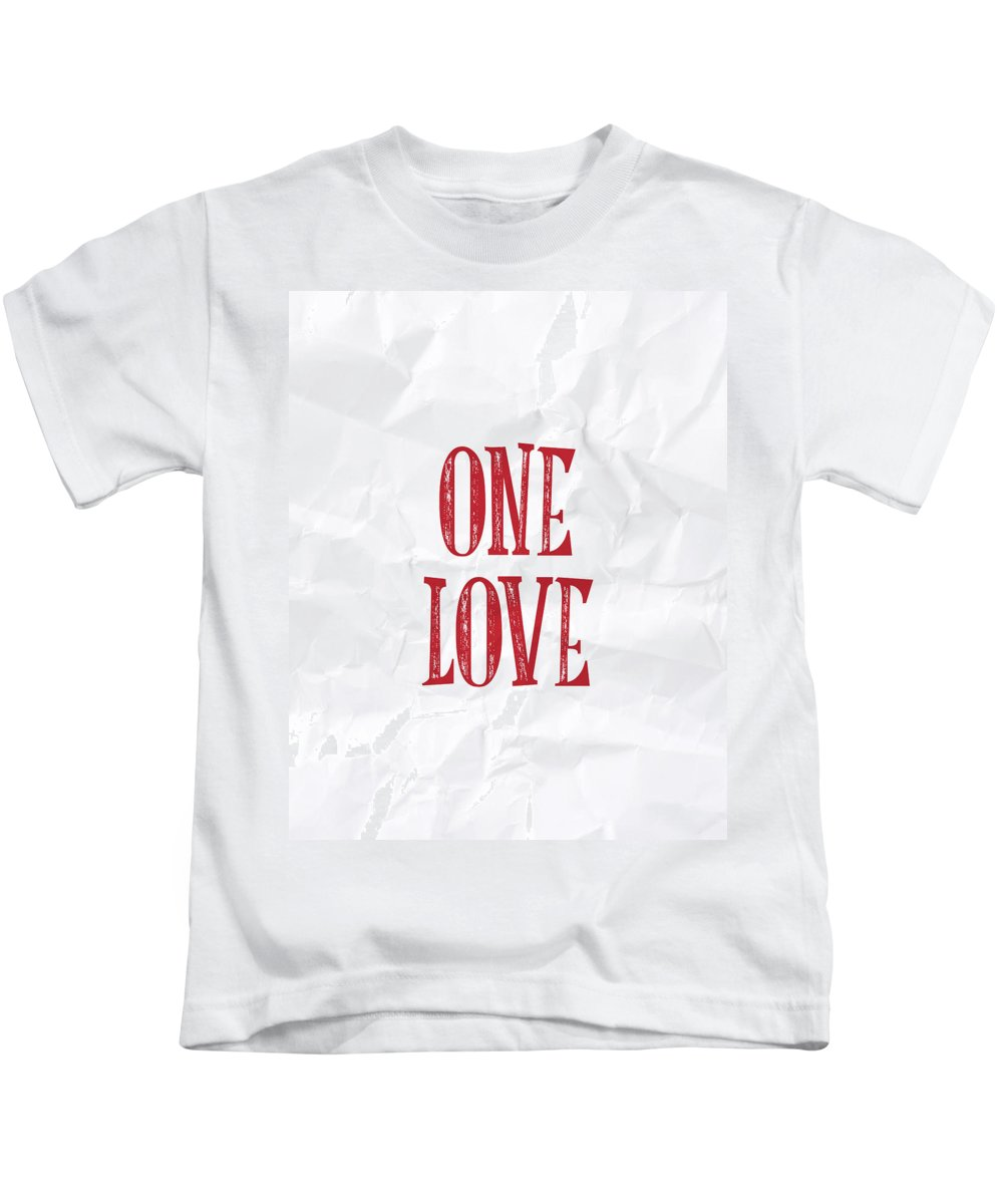 One Love Kids T-Shirt featuring the digital art One Love by Samuel Whitton