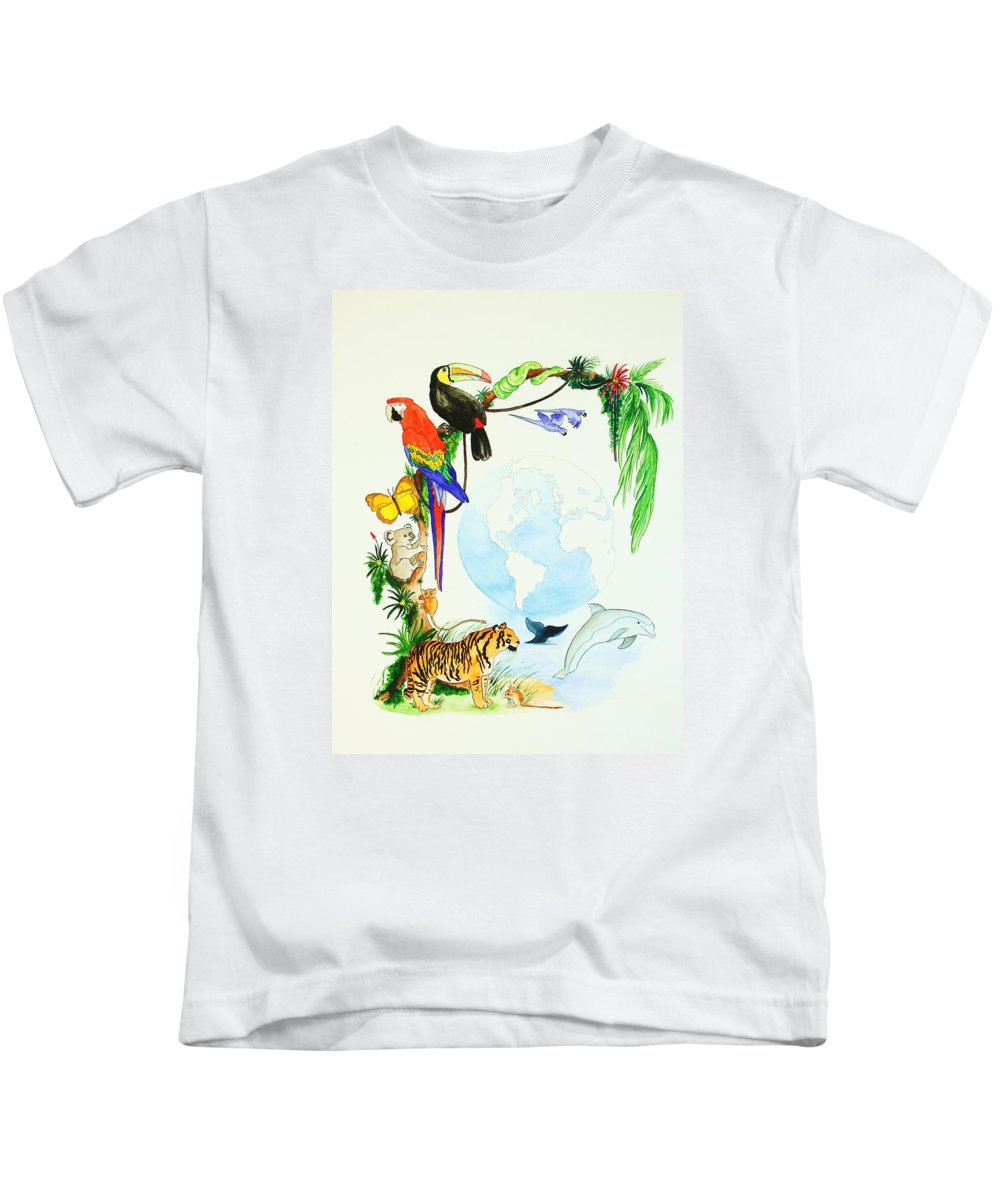 Animals Kids T-Shirt featuring the painting One World by Michaela Bautz