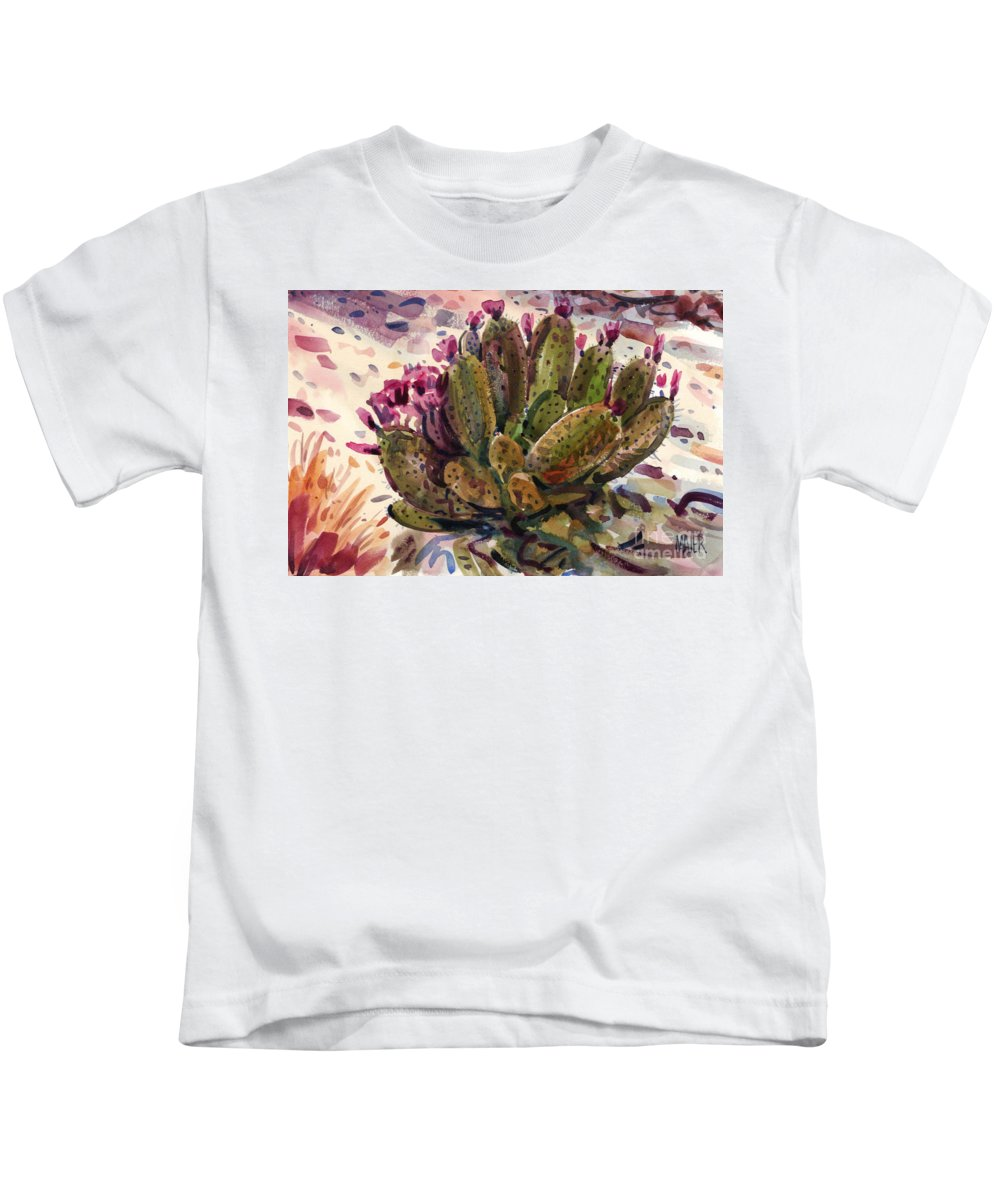 Opuntia Cactus Kids T-Shirt featuring the painting Opuntia Cactus by Donald Maier