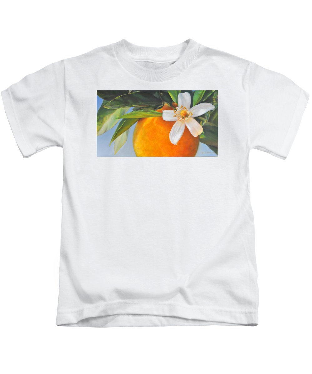 Floral Painting Kids T-Shirt featuring the painting Orange En Fleurs by Muriel Dolemieux