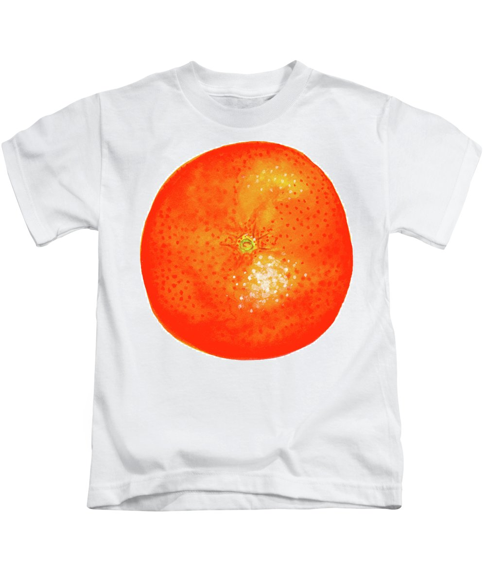 Watercolor Painting Kids T-Shirt featuring the painting Orange by Erin Sparler