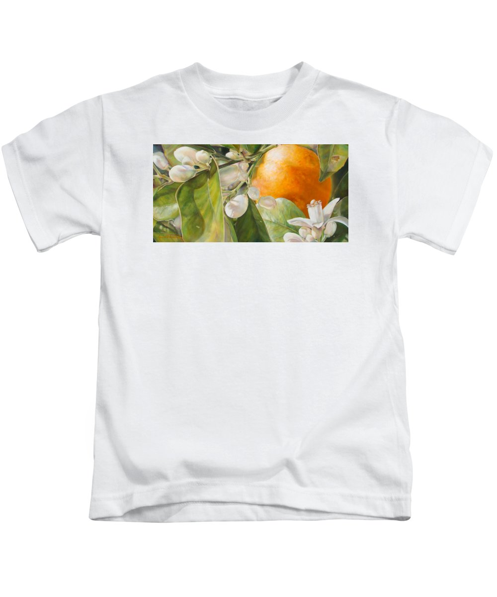 Floral Painting Kids T-Shirt featuring the painting Orange Fleurie by Dolemieux