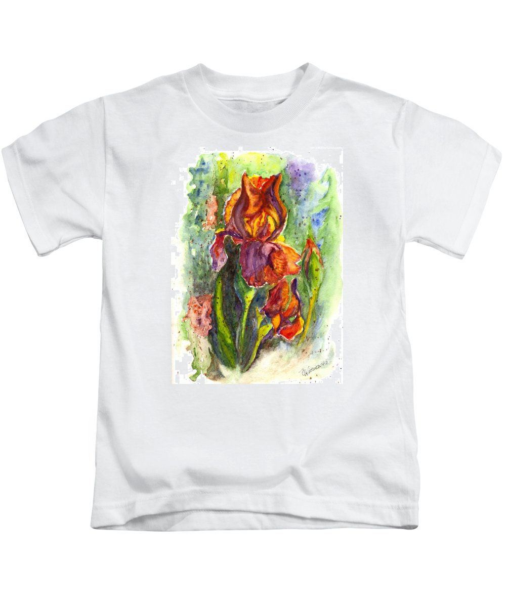 Floral Kids T-Shirt featuring the painting Orange Ice by Carol Wisniewski