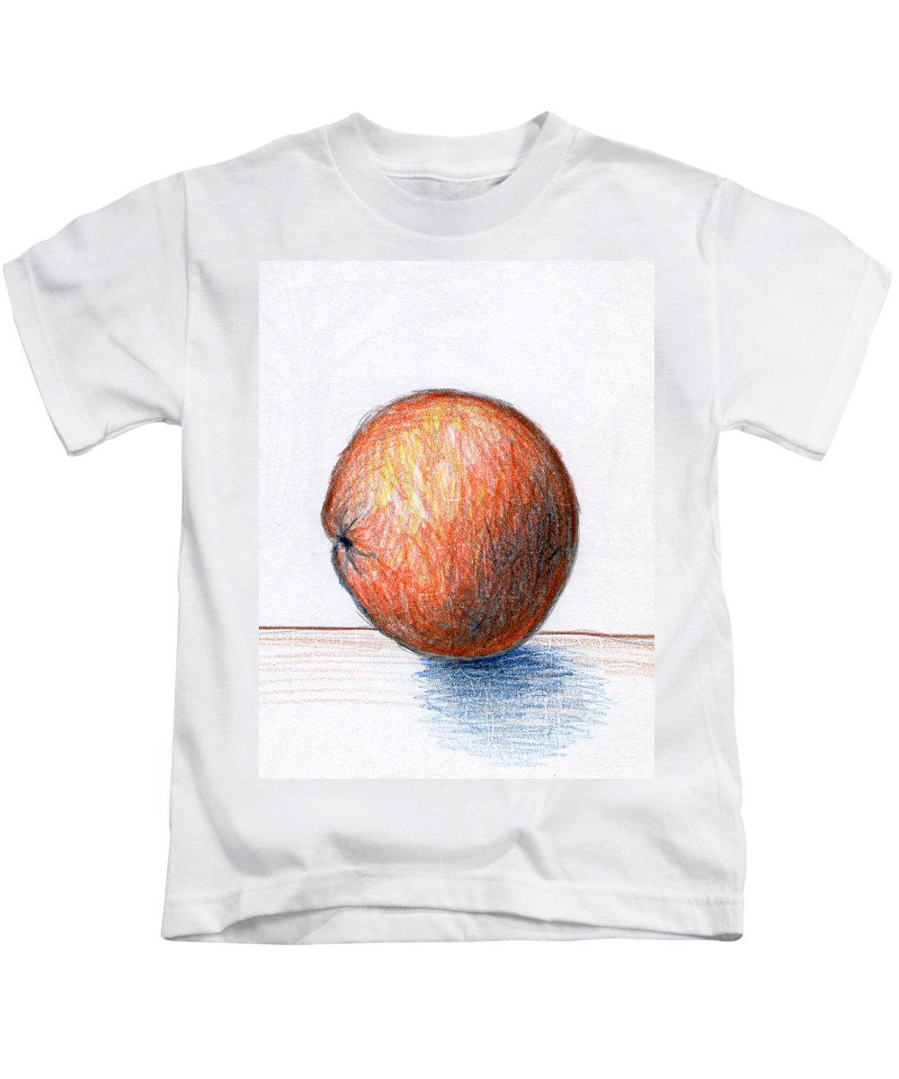 Orange Kids T-Shirt featuring the drawing Orange by Nancy Mueller