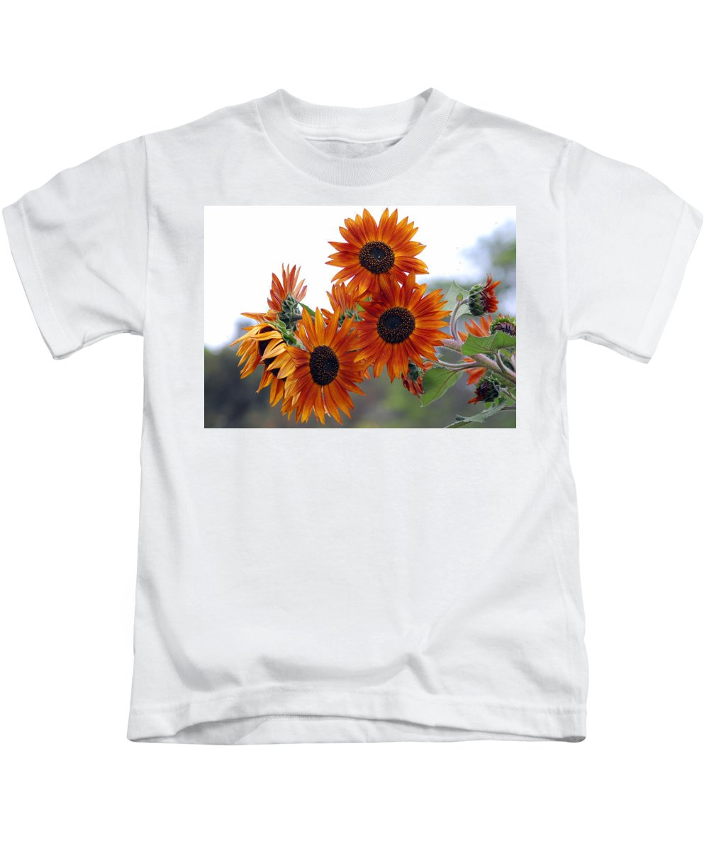 Sunflower Kids T-Shirt featuring the photograph Orange Sunflower 1 by Amy Fose