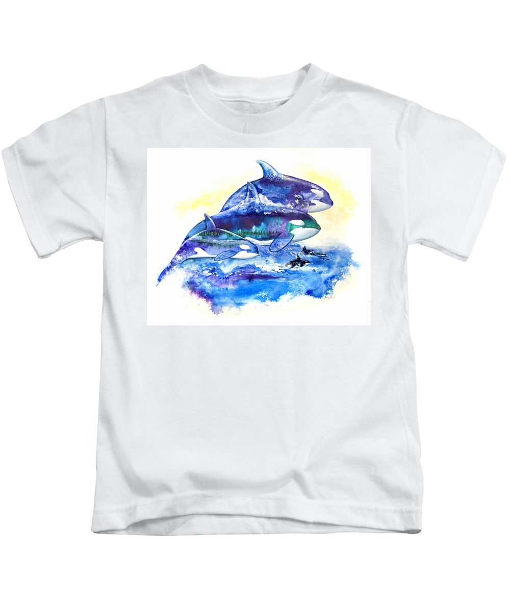 Orca Kids T-Shirt featuring the painting Orca Fantasy by Sherry Shipley