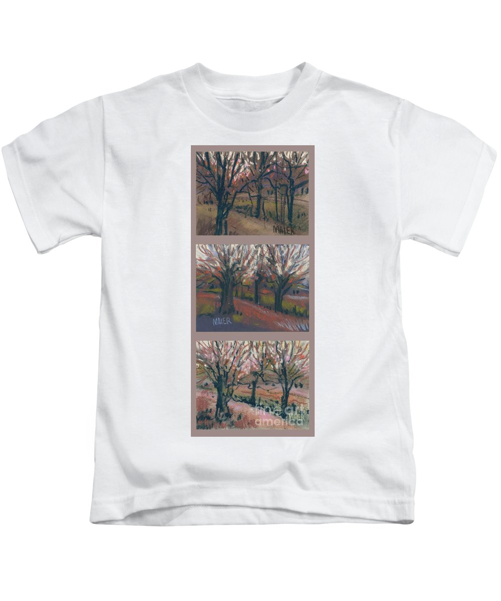 Pastel Kids T-Shirt featuring the drawing Orchard Sunset by Donald Maier
