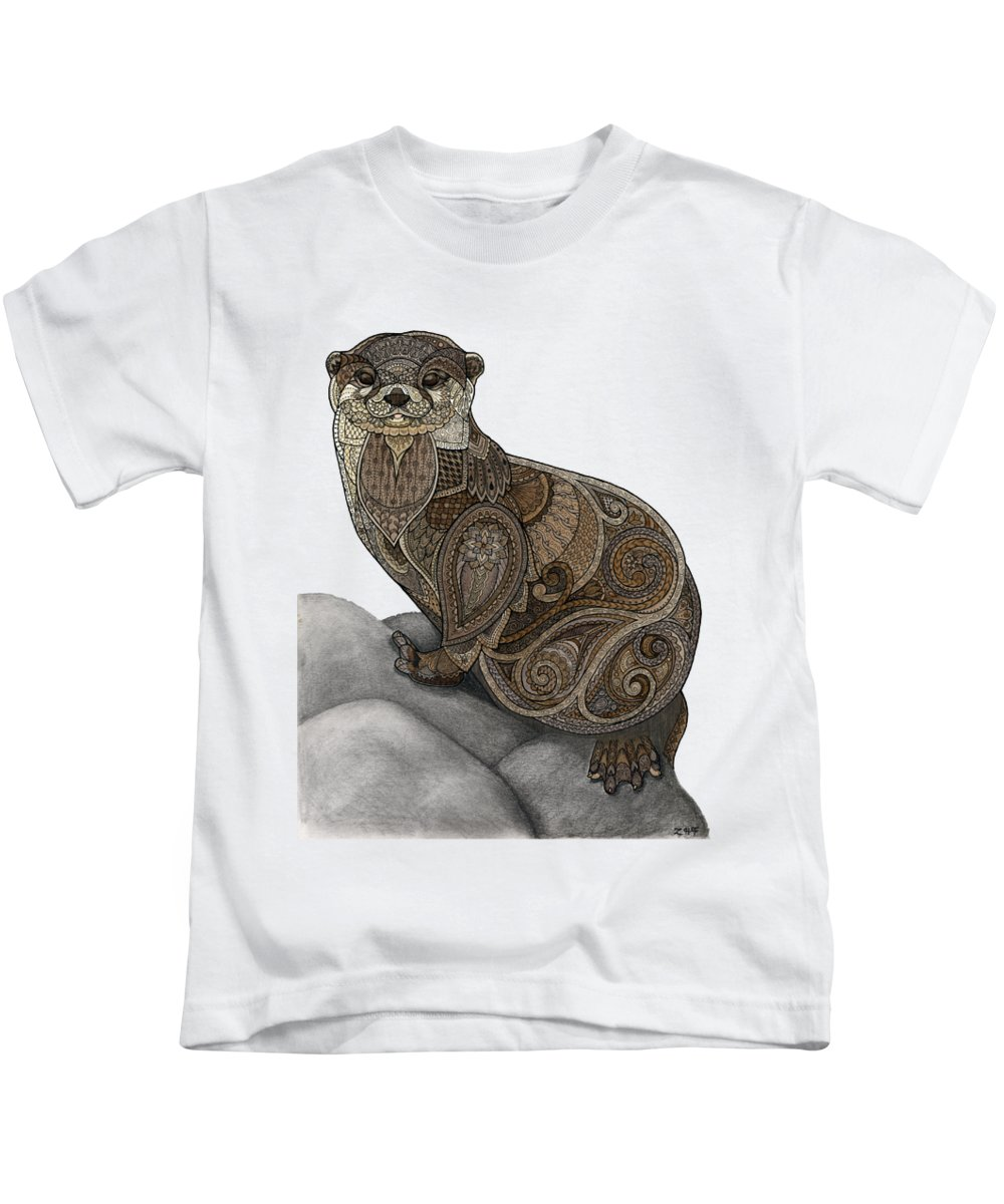 Zentangle Kids T-Shirt featuring the drawing Otter Tangle by ZH Field