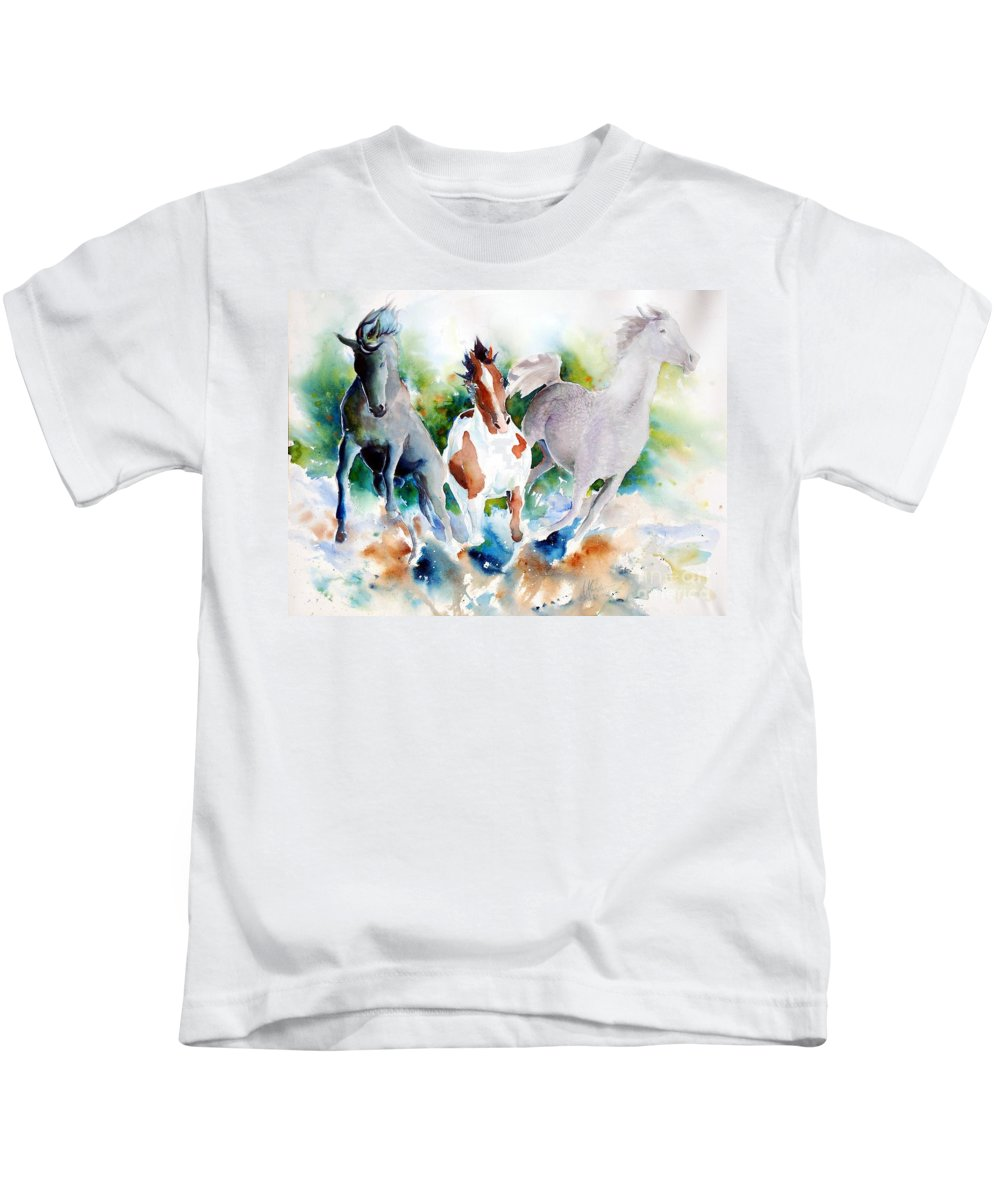 Horses Kids T-Shirt featuring the painting Out Of Nowhere by Christie Martin