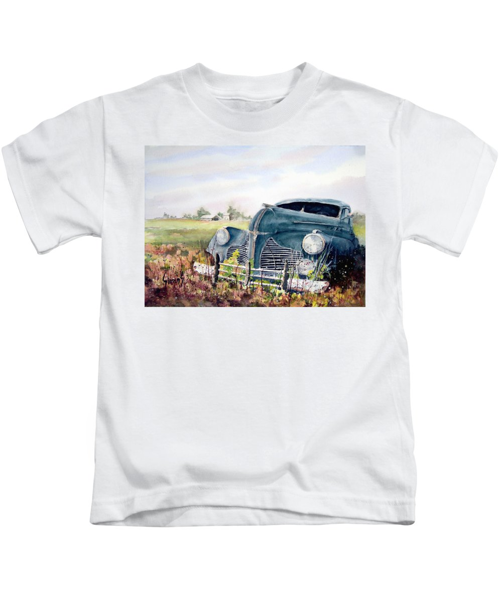 Classic Car Kids T-Shirt featuring the painting Out To Pasture by Sam Sidders