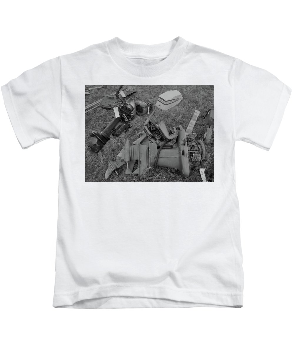 Farm Auction Kids T-Shirt featuring the photograph Outboards Bw by Mark Victors