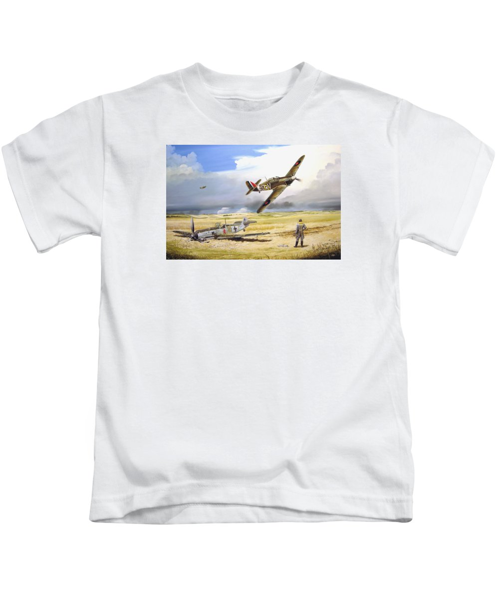 Painting Kids T-Shirt featuring the painting Outgunned by Marc Stewart
