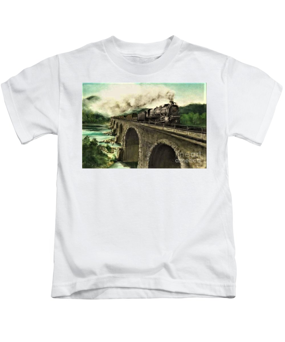 Steam Engine Kids T-Shirt featuring the painting Over the River by David Mittner
