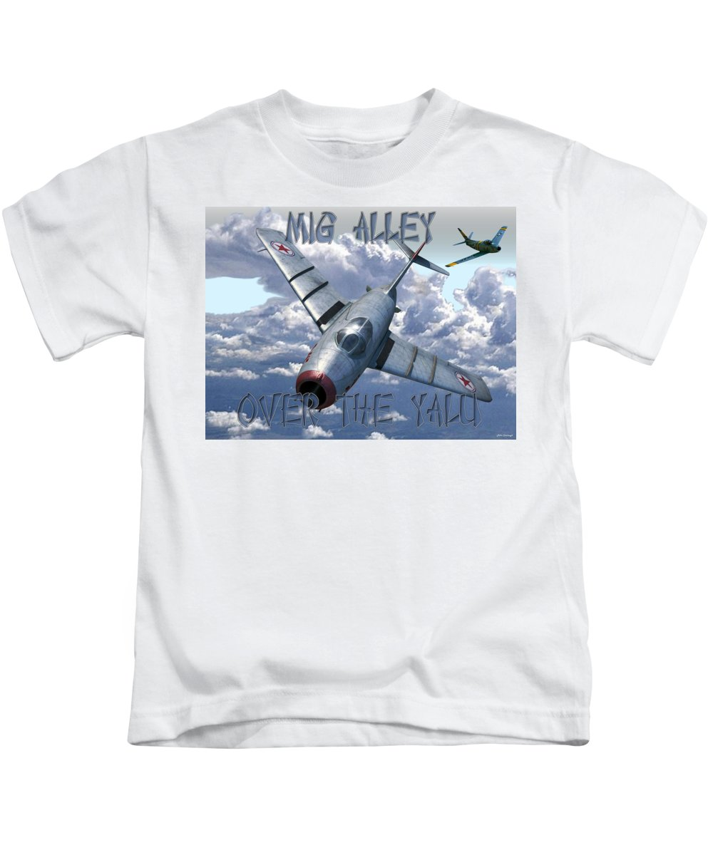 Mig15 Kids T-Shirt featuring the digital art Over The Yalu by Mil Merchant