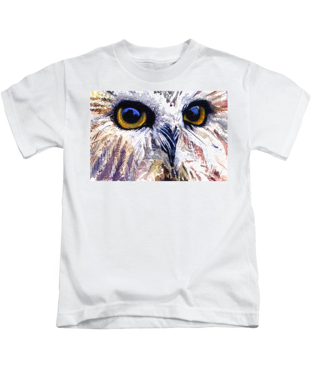 Eye Kids T-Shirt featuring the painting Owl by John D Benson