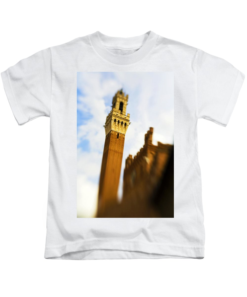 Palazzo Pubblico Kids T-Shirt featuring the photograph Palazzo Pubblico Tower Siena Italy by Marilyn Hunt