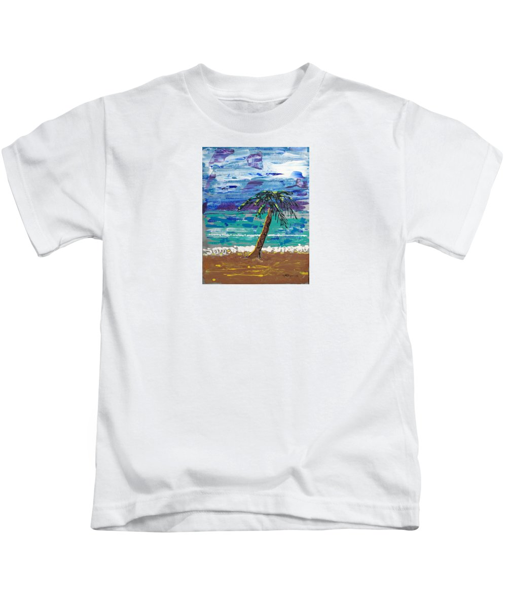 Impressionist Painting Kids T-Shirt featuring the painting Palm Beach by J R Seymour