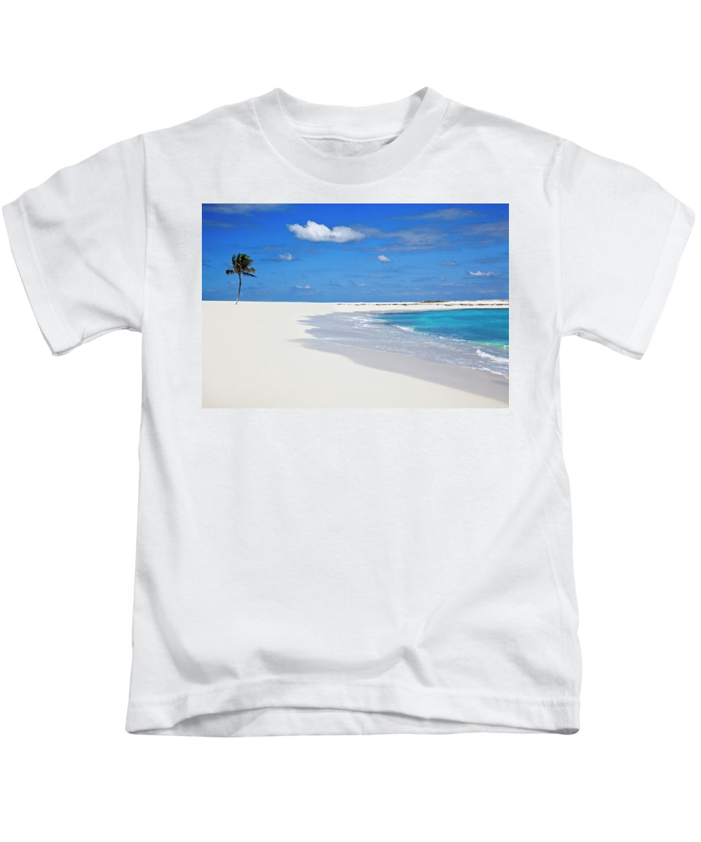 Beach Kids T-Shirt featuring the photograph Palm Tree And Sandy Beach by Bruce Beck