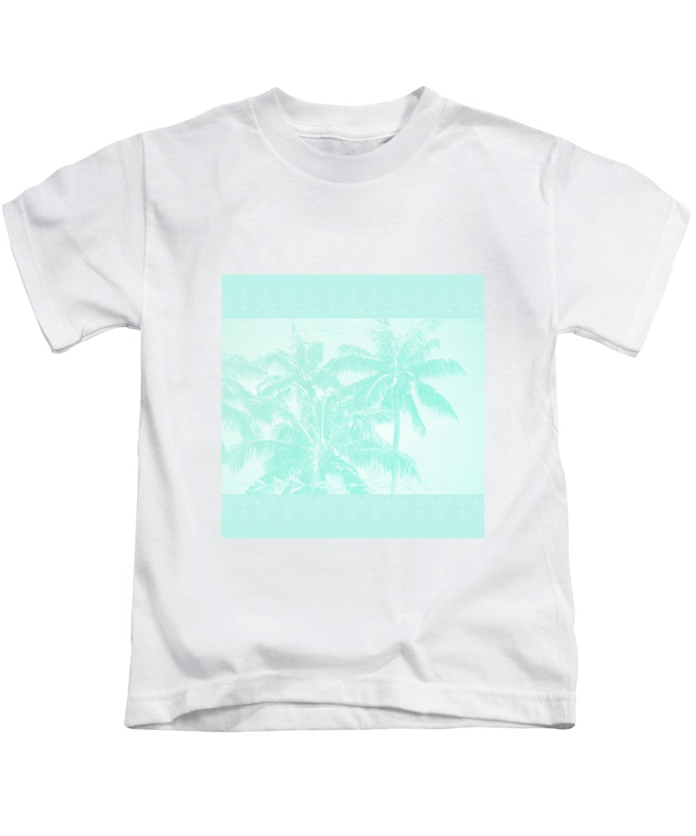 Aloha Kids T-Shirt featuring the photograph Palm Trees Hawaii Tropical Cyan by Sharon Mau