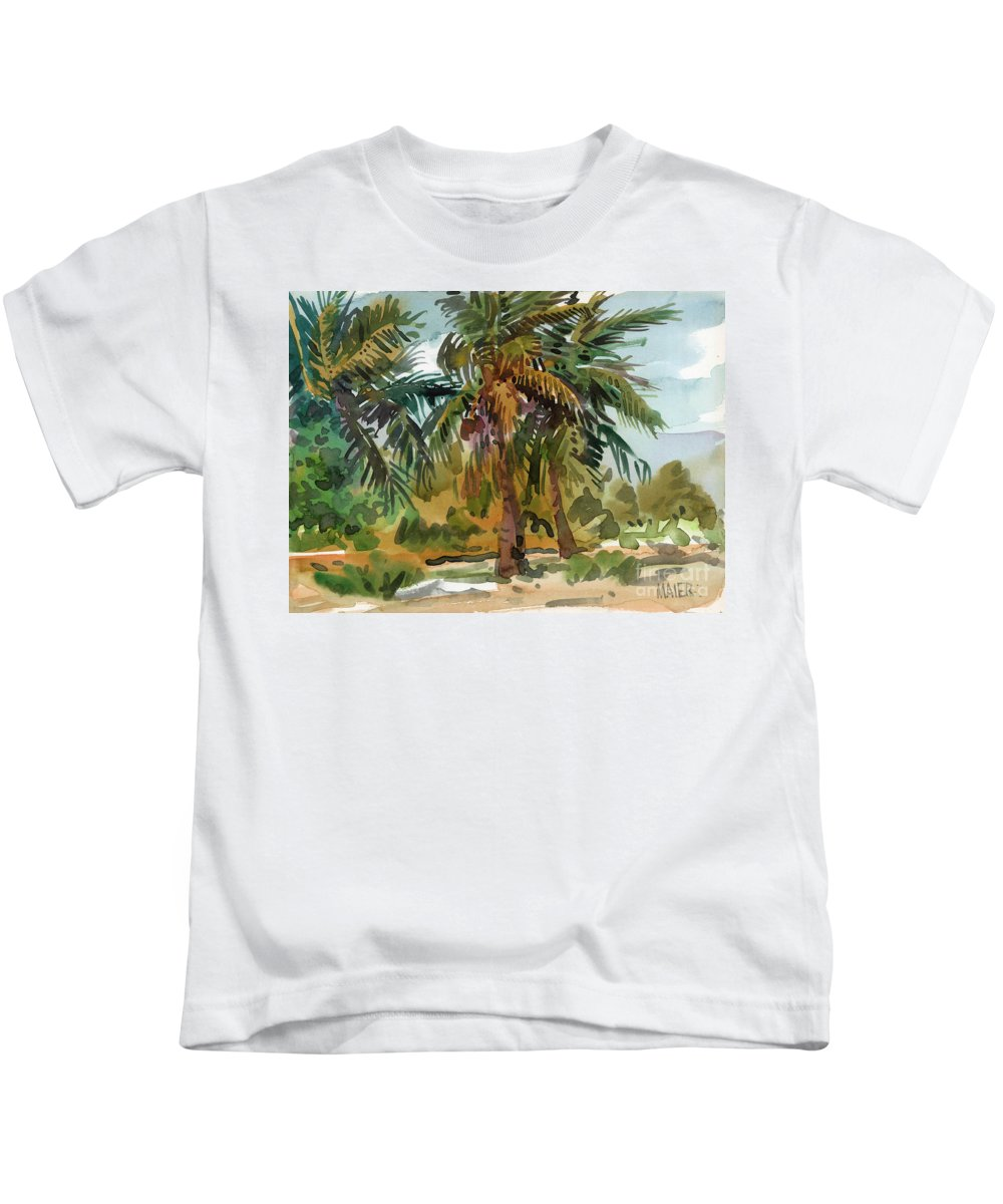Palm Tree Kids T-Shirt featuring the painting Palms In Key West by Donald Maier