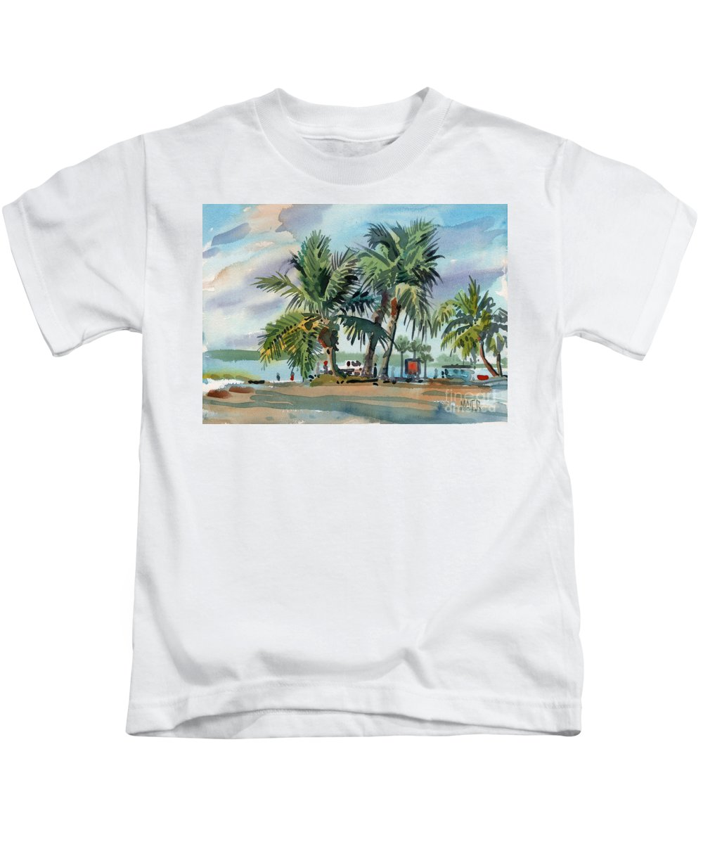 Palms Kids T-Shirt featuring the painting Palms On Sanibel by Donald Maier
