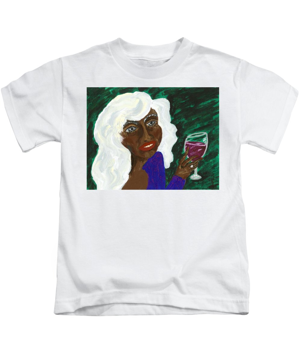 Acrylic Painting Kids T-Shirt featuring the painting PAM by Stacey Torres