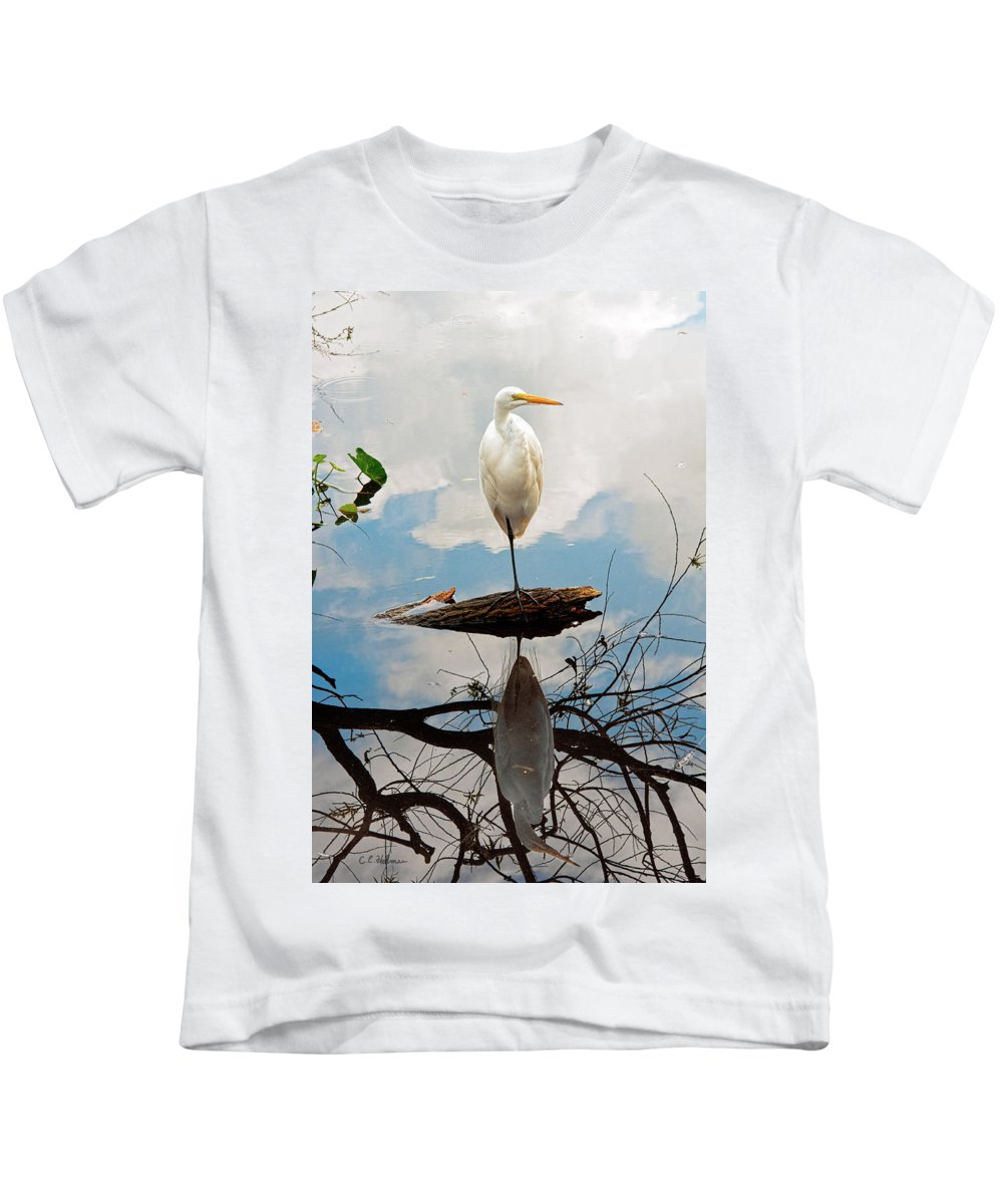 Egret Kids T-Shirt featuring the photograph Parallel Worlds by Christopher Holmes