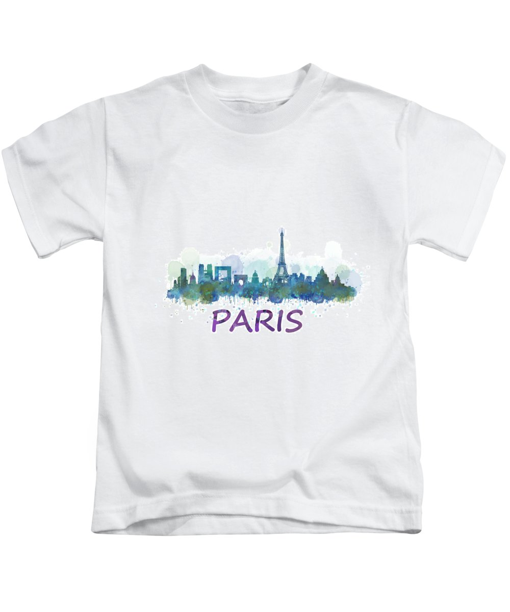 Paris Kids T-Shirt featuring the painting Paris City Skyline Hq Watercolor V3 by HQ Photo