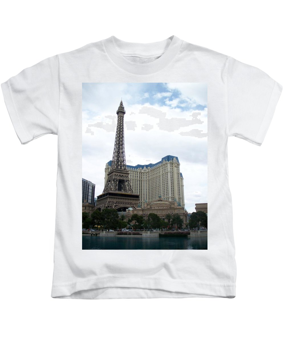 Bellagio Kids T-Shirt featuring the photograph Paris Hotel by Anita Burgermeister