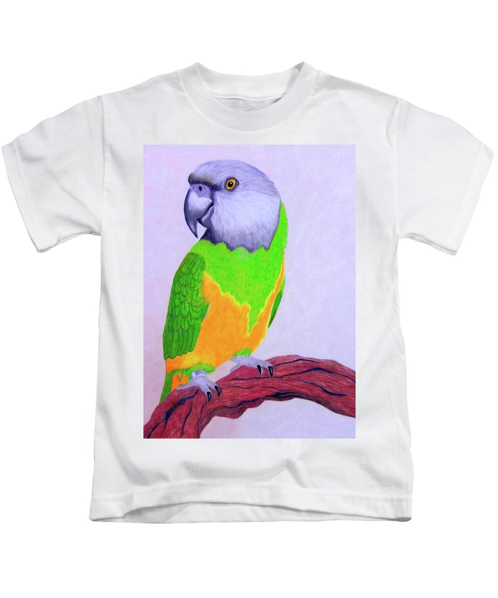 Parrot Kids T-Shirt featuring the drawing Parrot Portrait by Maureen Beaudet