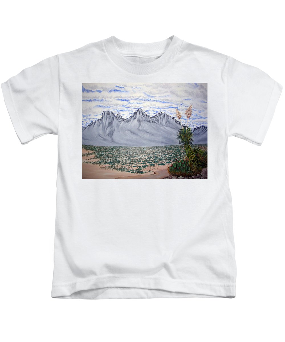 Desertscape Kids T-Shirt featuring the painting Pass of the North by Marco Morales