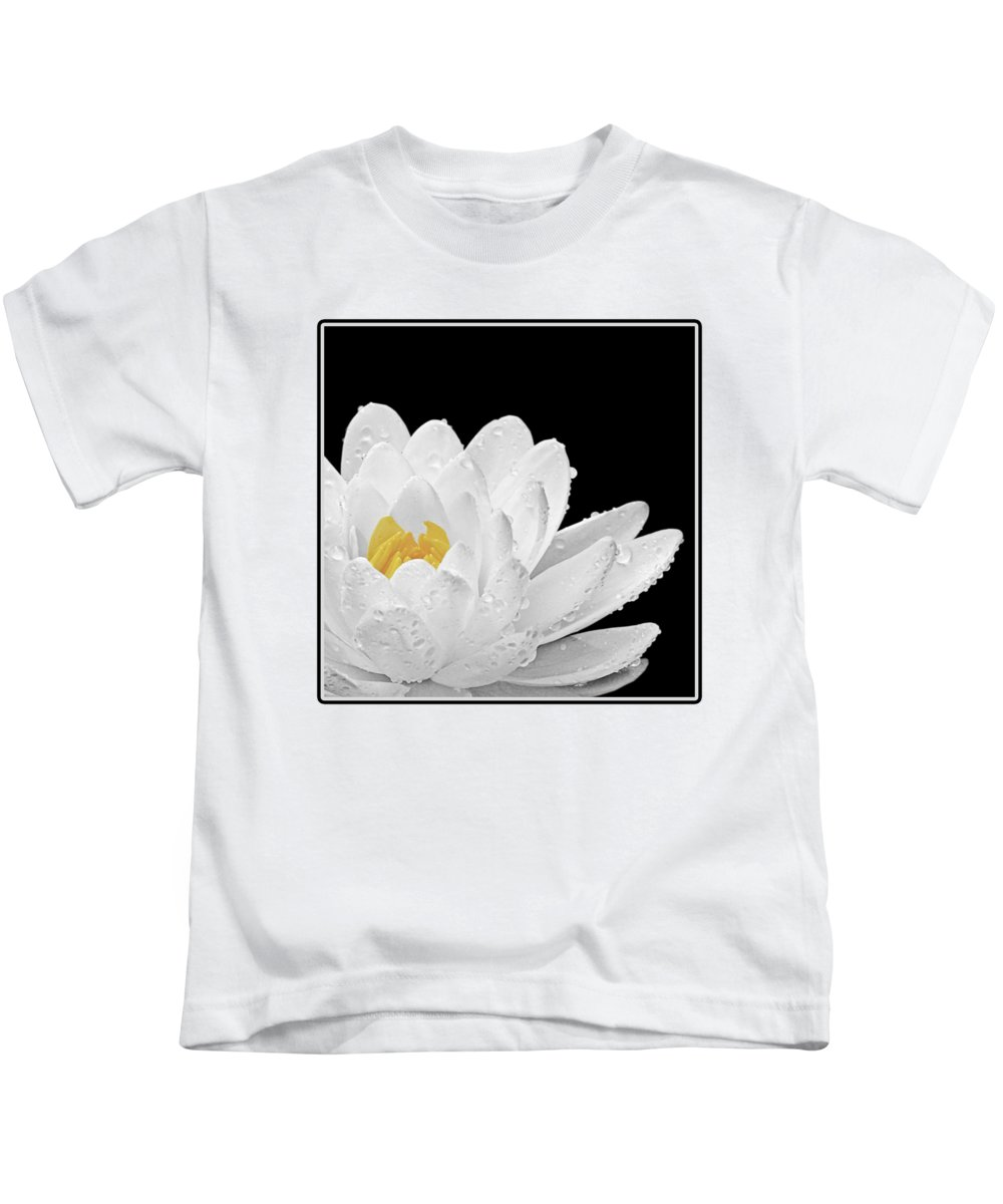 White Waterlily Kids T-Shirt featuring the photograph Patch Of Gold by Gill Billington
