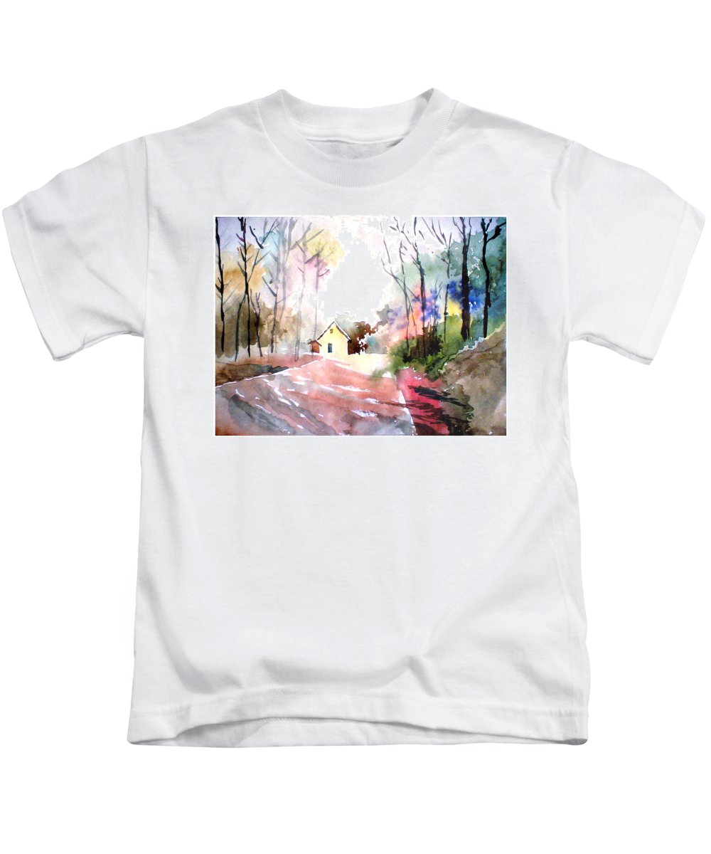 Nature Kids T-Shirt featuring the painting Path In Colors by Anil Nene