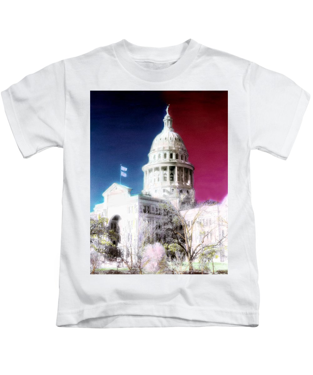 Americana Kids T-Shirt featuring the photograph Patriotic Texas Capitol by Marilyn Hunt