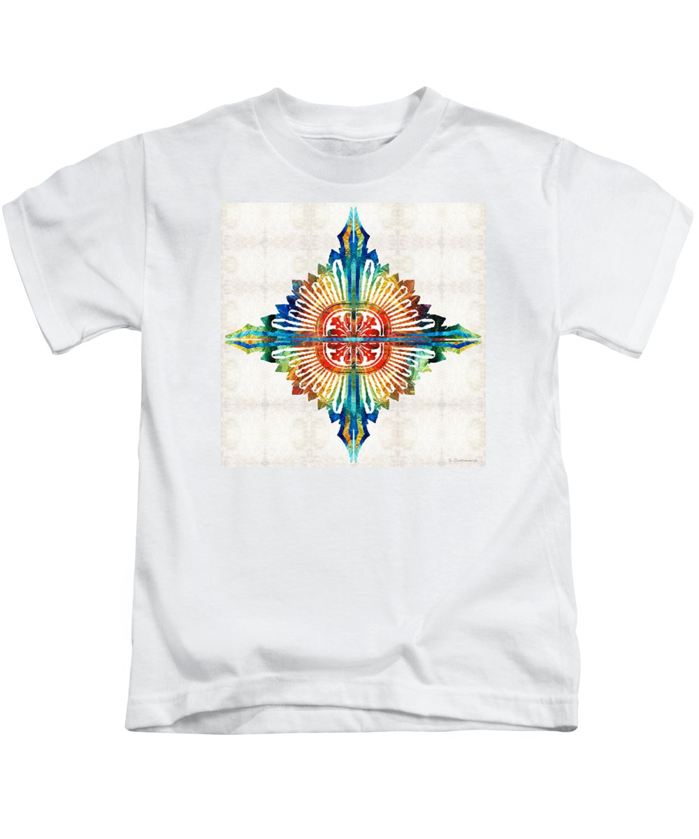 Mandala Kids T-Shirt featuring the painting Pattern Art - Color Fusion Design 1 By Sharon Cummings by Sharon Cummings