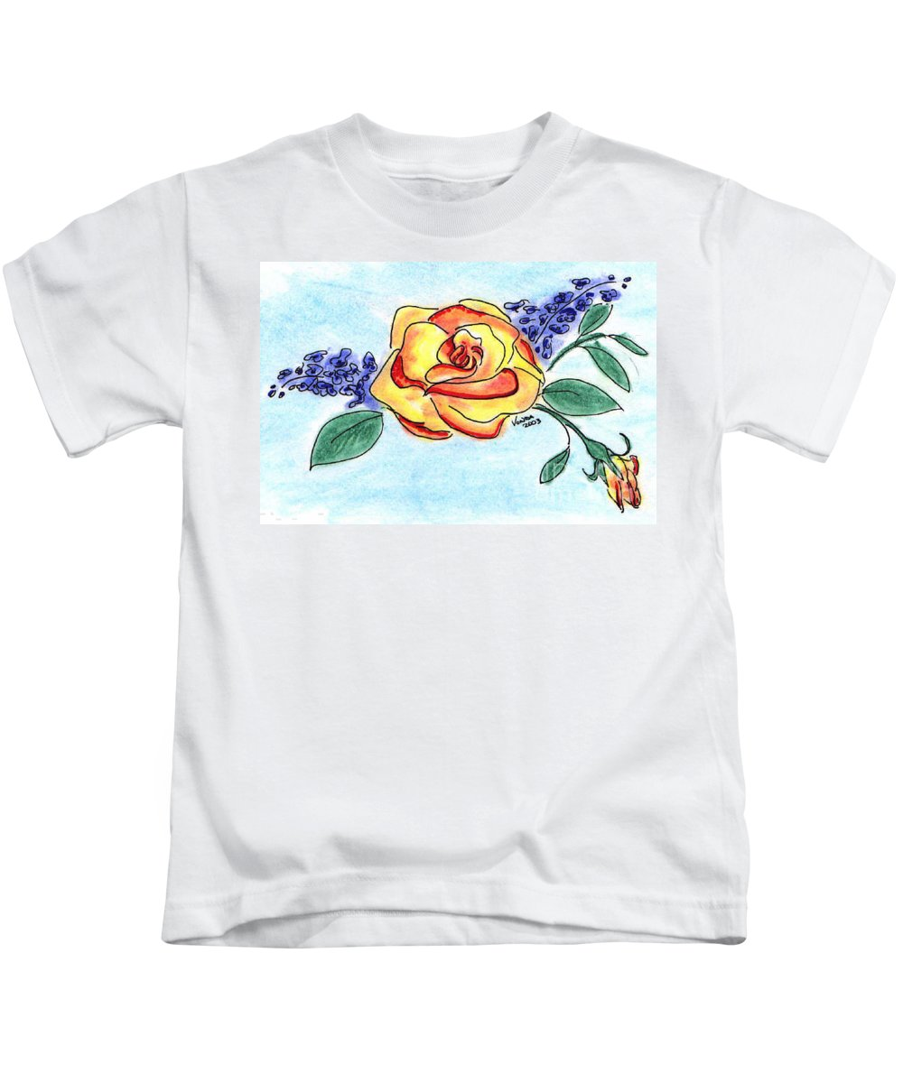 Rose Kids T-Shirt featuring the drawing Peace Rose by Vonda Lawson-Rosa