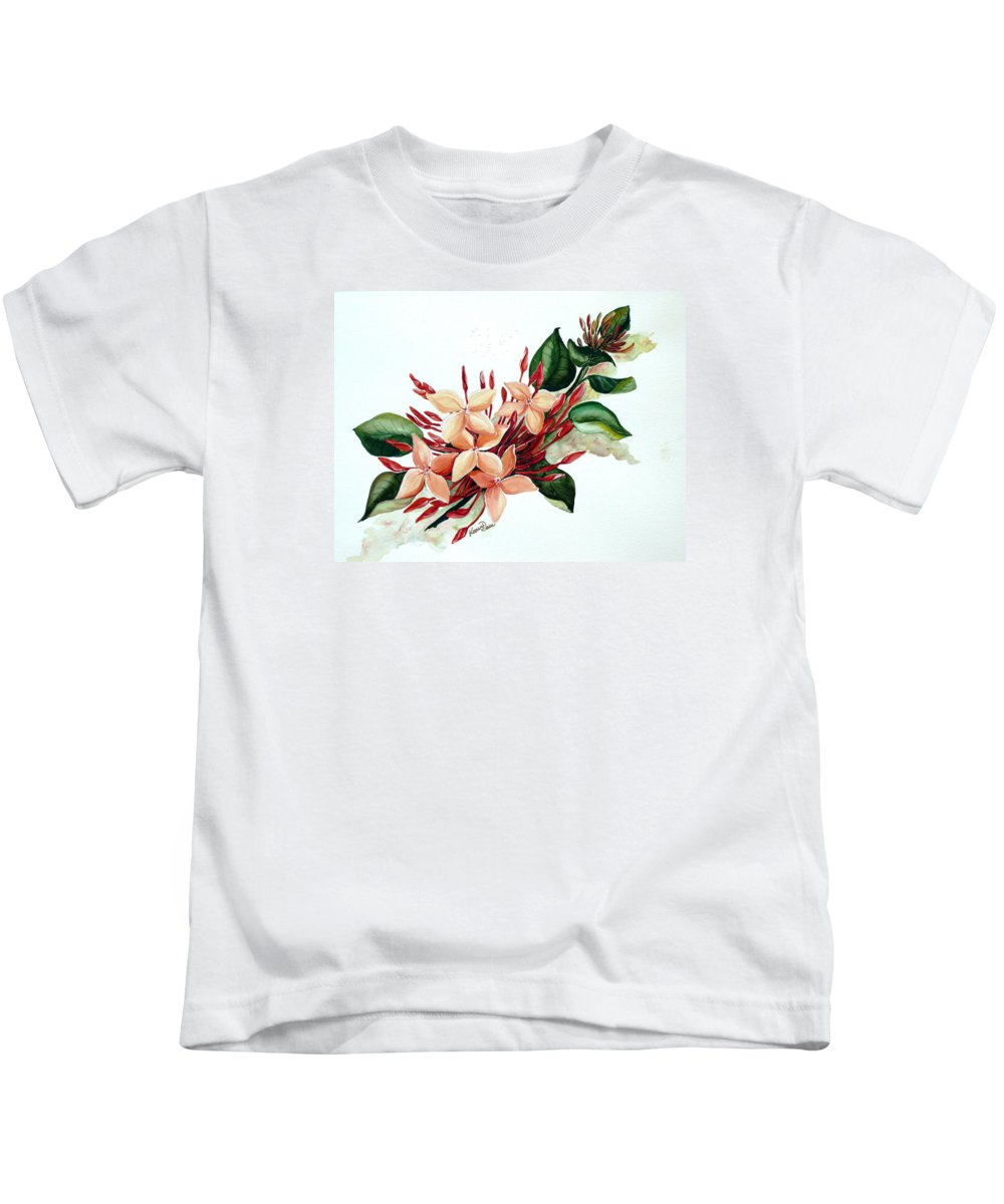 Floral Peach Flower Watercolor Ixora Botanical Bloom Kids T-Shirt featuring the painting Peachy Ixora by Karin Dawn Kelshall- Best