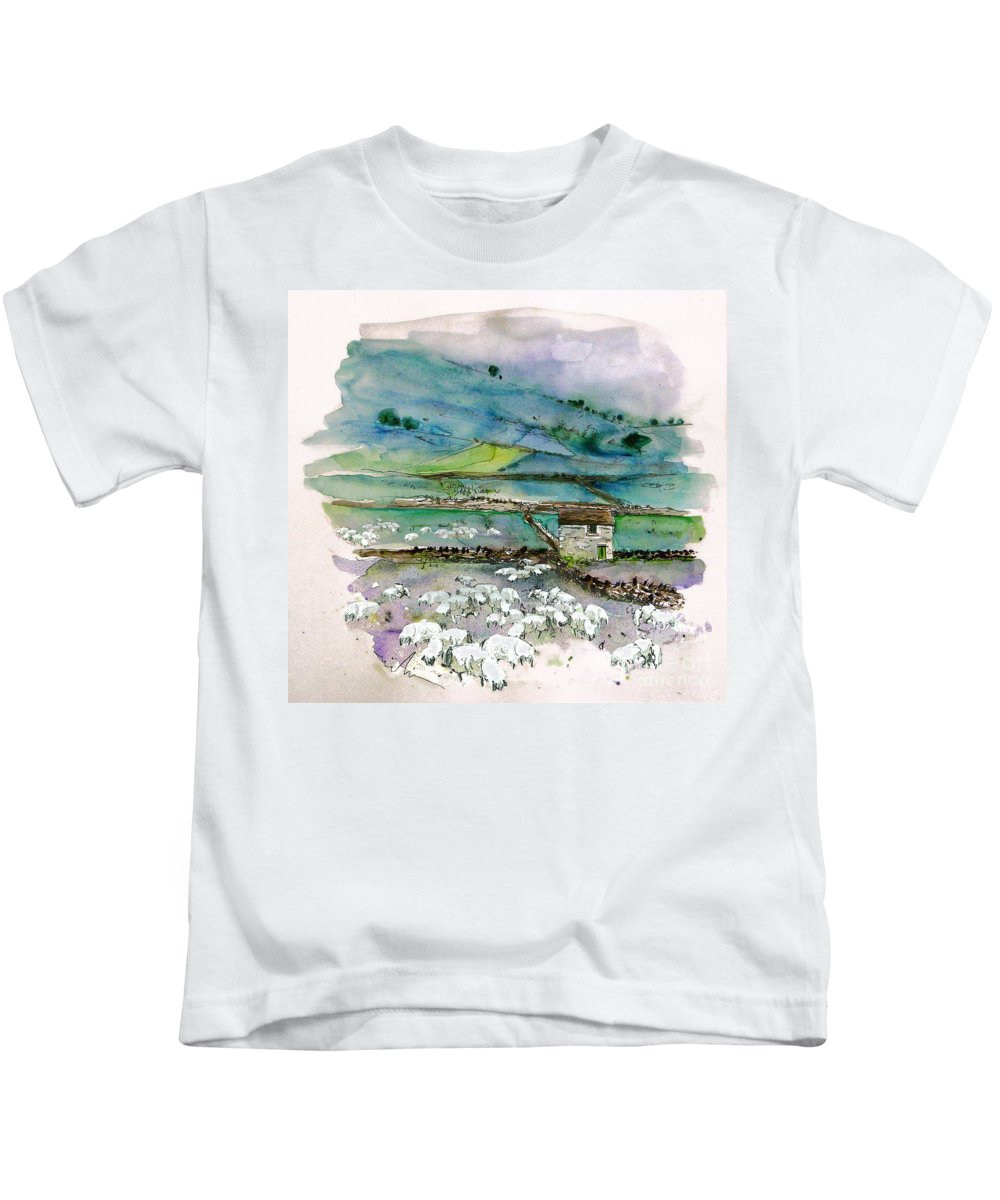 Paintings England Watercolour Travel Sketches Ink Drawings Art Landscape Paintings Town Kids T-Shirt featuring the painting Peak District Uk Travel Sketch by Miki De Goodaboom
