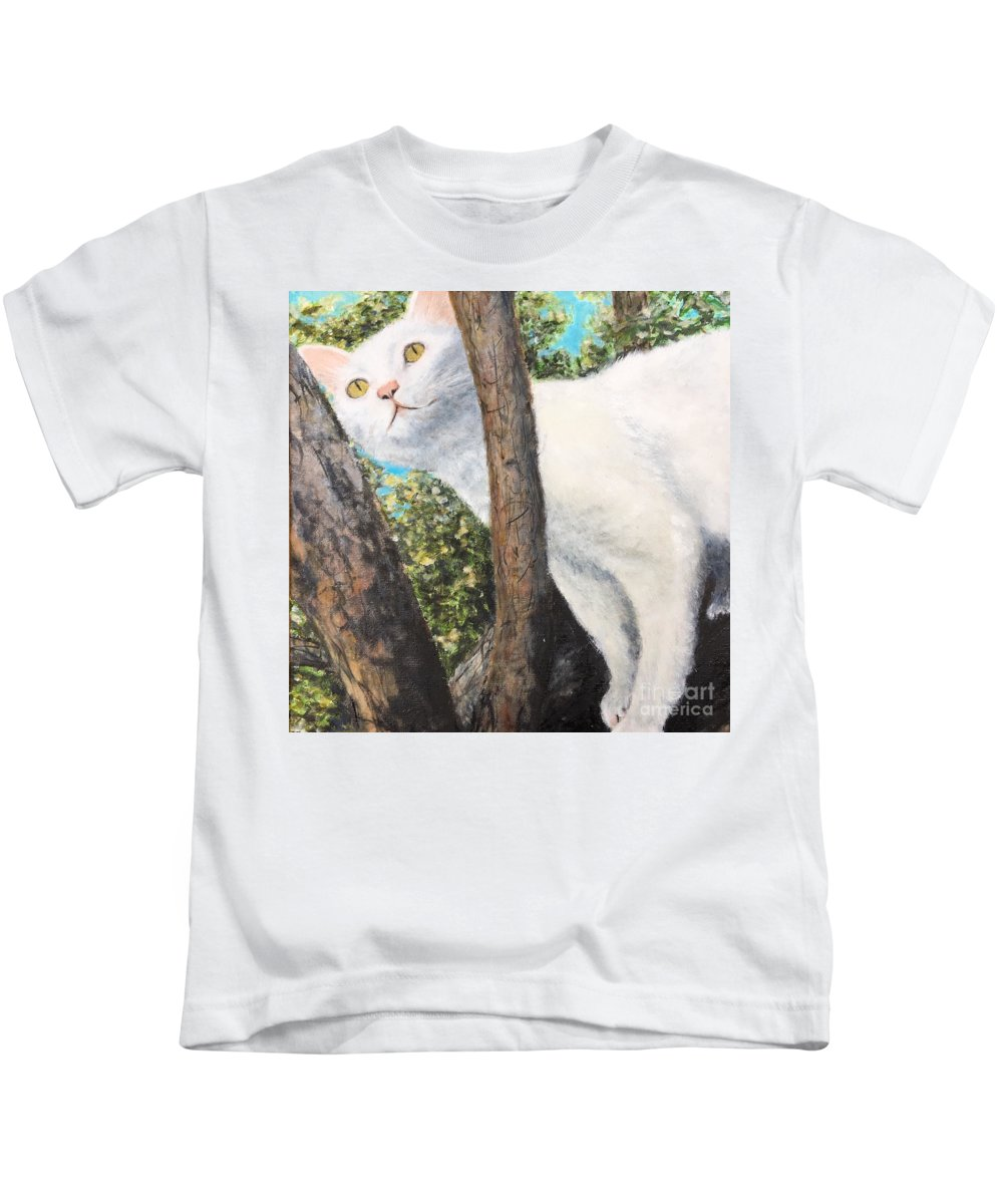 Cat Kids T-Shirt featuring the pyrography Pearl Up A Tree by Diane Donati