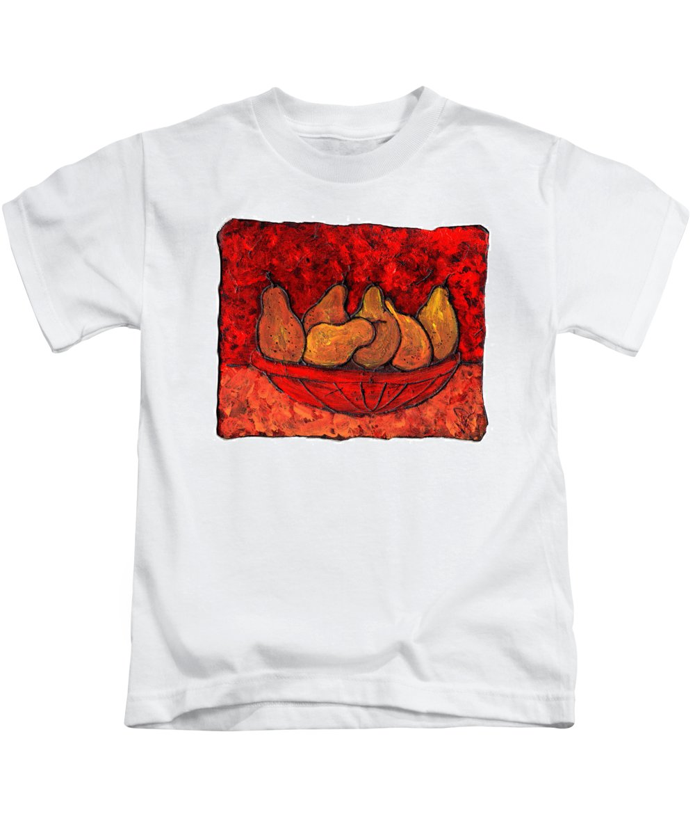 Food And Drink Kids T-Shirt featuring the painting Pears On Fire by Wayne Potrafka