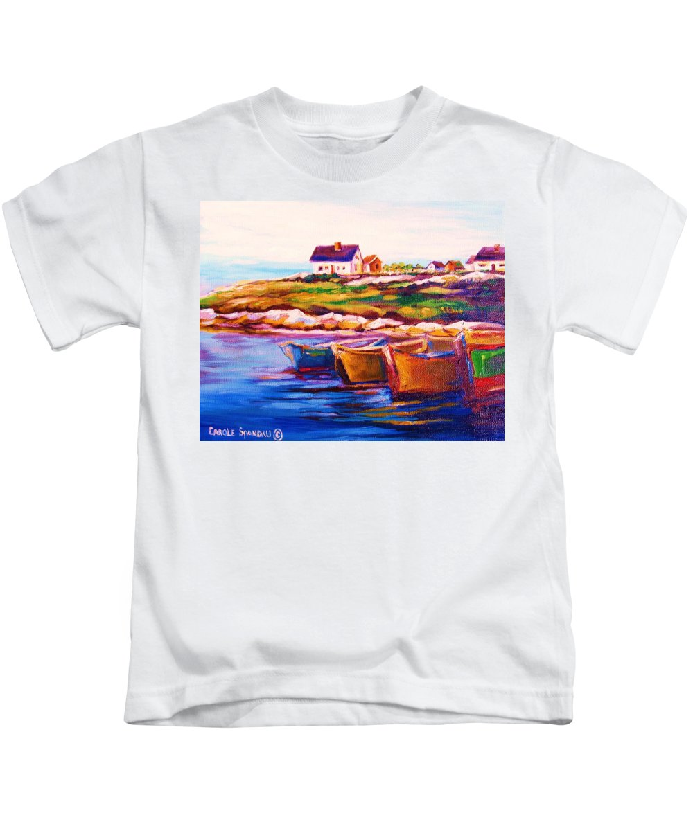 Row Boats Kids T-Shirt featuring the painting Peggys Cove Four Row Boats by Carole Spandau